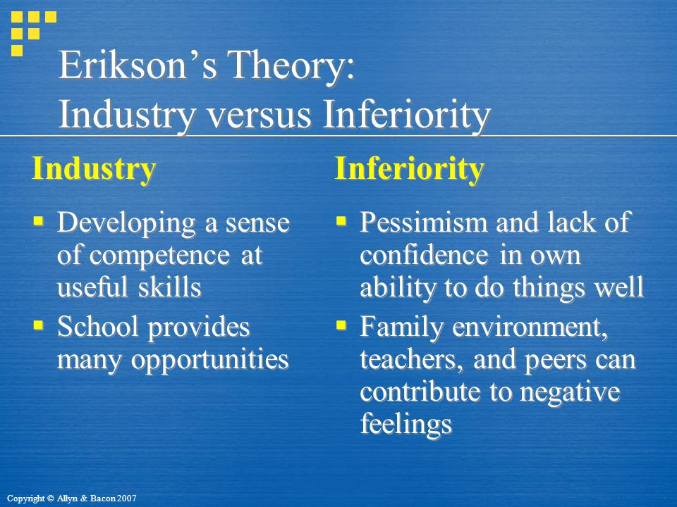 Erikson's Theory: Industry versus Inferiority