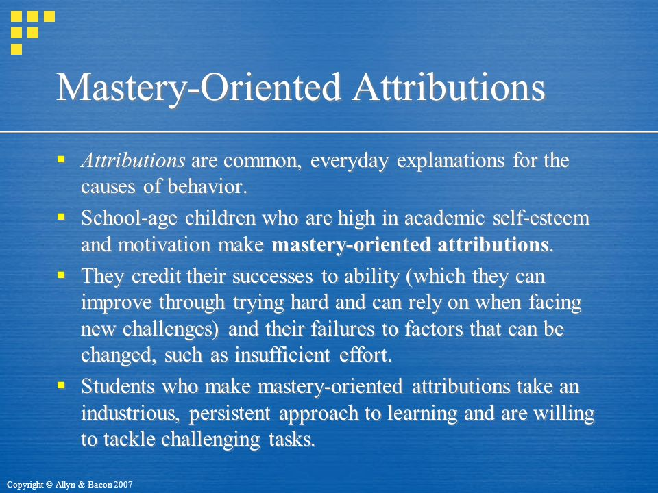 Mastery-Oriented Attributions