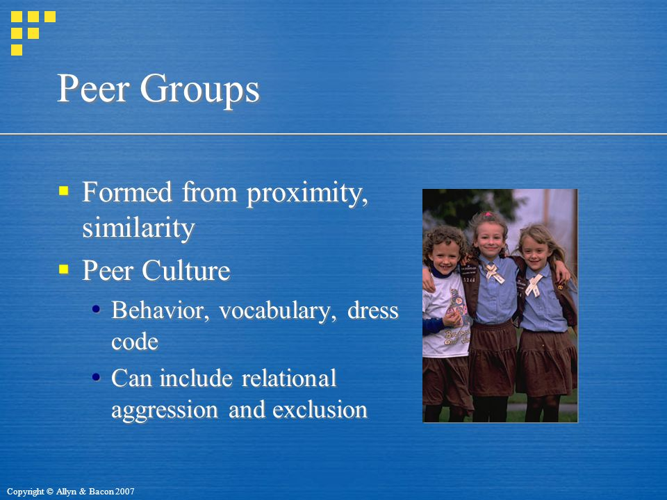 Peer Groups Formed from proximity, similarity Peer Culture