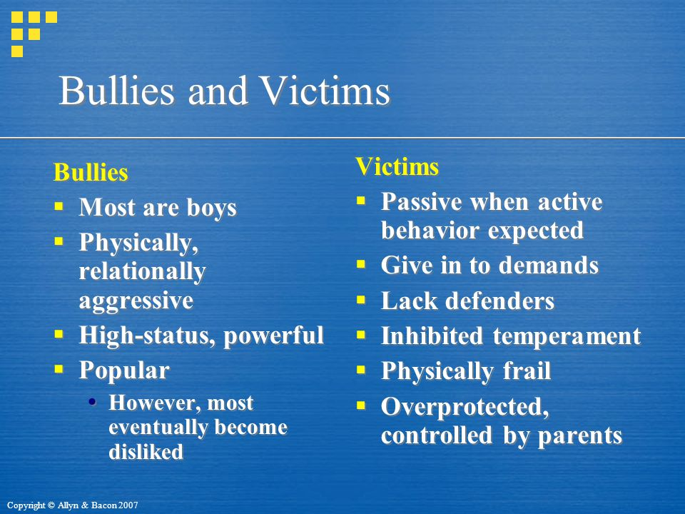 Bullies and Victims Victims Bullies