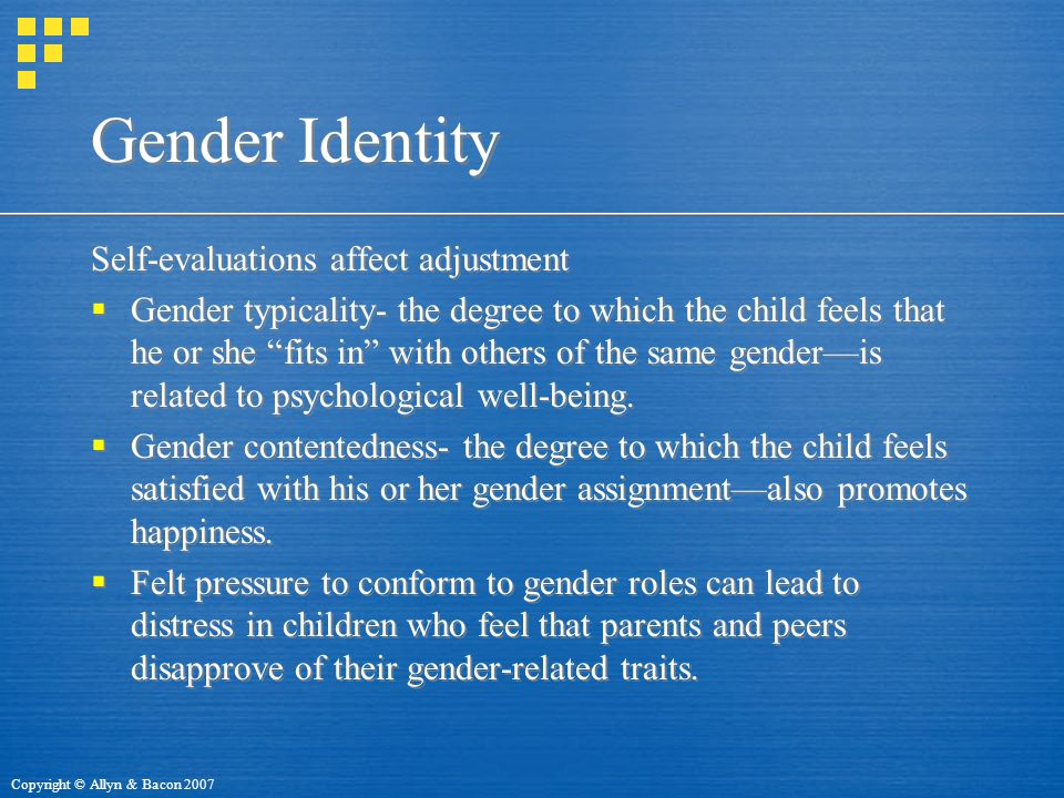 Gender Identity Self-evaluations affect adjustment