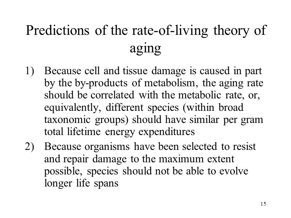 Predictions of the rate-of-living theory of aging