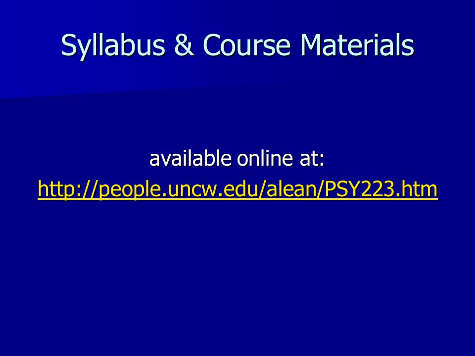 Syllabus & Course Materials