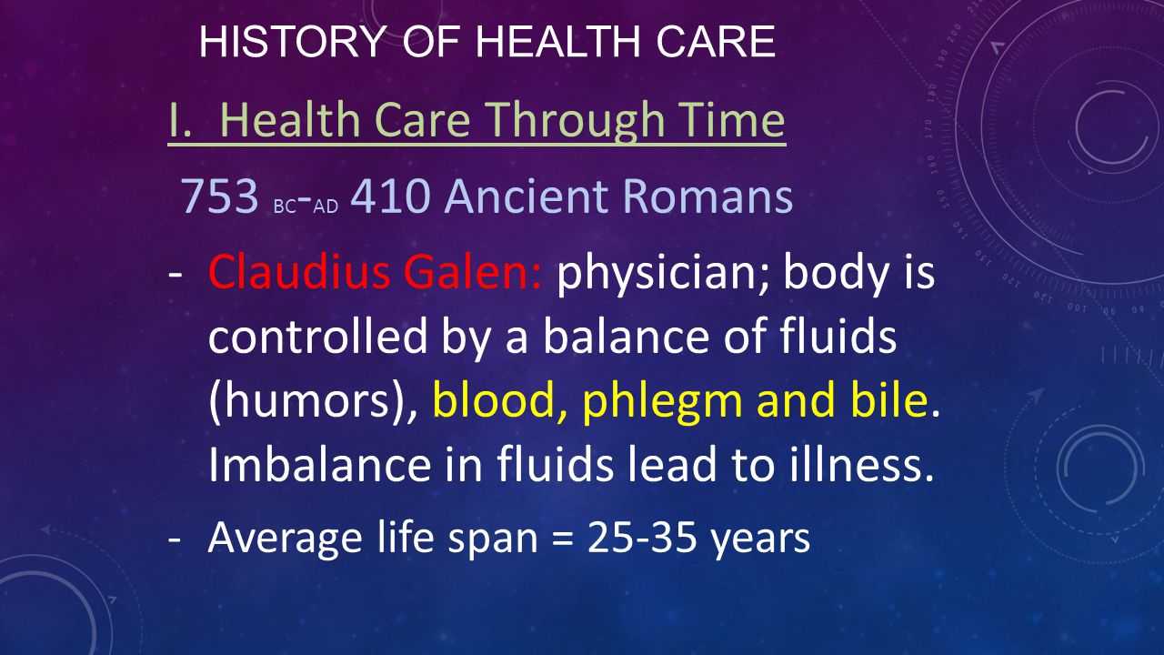 I. Health Care Through Time 753 BC-AD 410 Ancient Romans