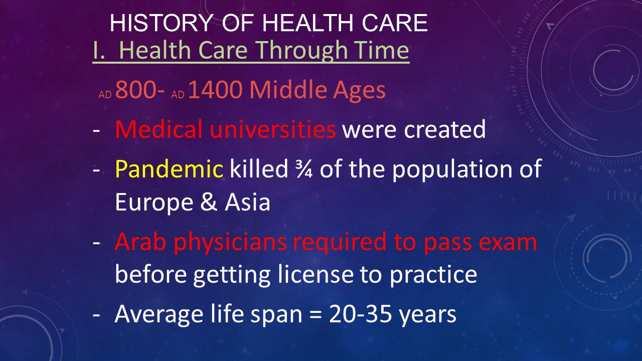 I. Health Care Through Time AD 800- AD 1400 Middle Ages