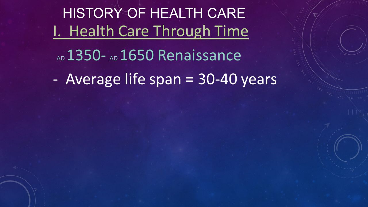 I. Health Care Through Time AD 1350- AD 1650 Renaissance