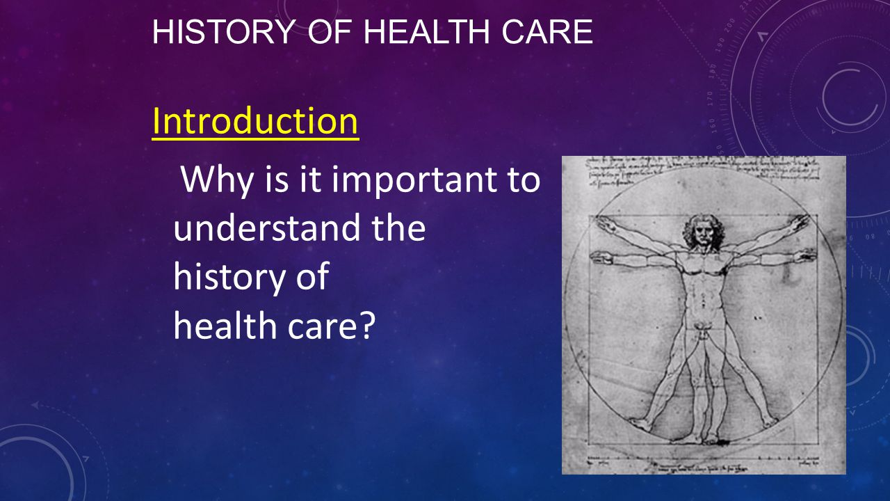 History of Health Care Introduction Why is it important to understand the history of health care