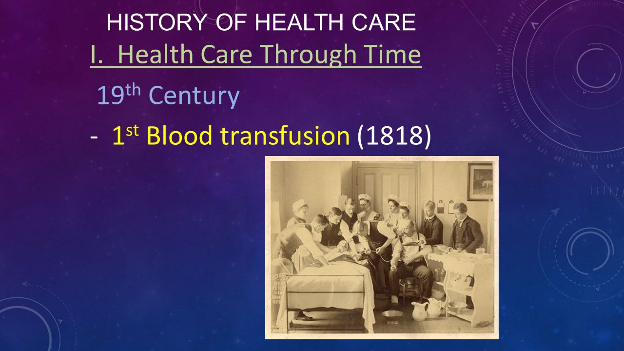 I. Health Care Through Time 19th Century 1st Blood transfusion (1818)