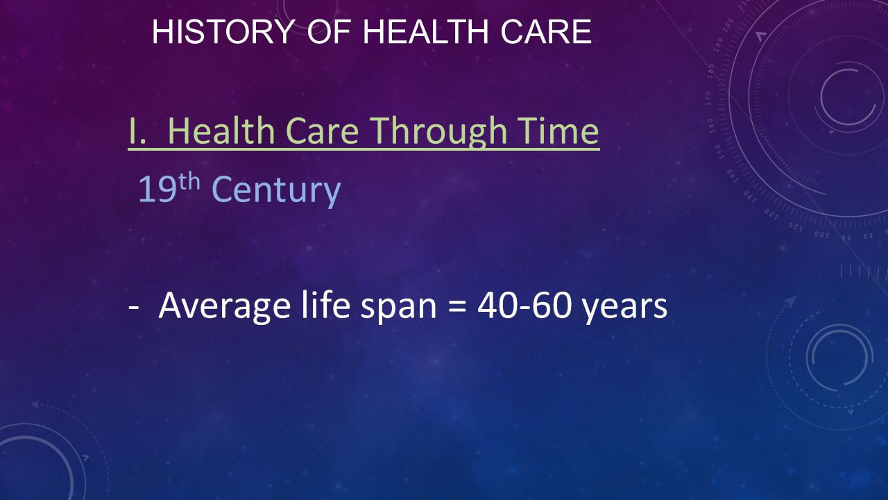 I. Health Care Through Time 19th Century