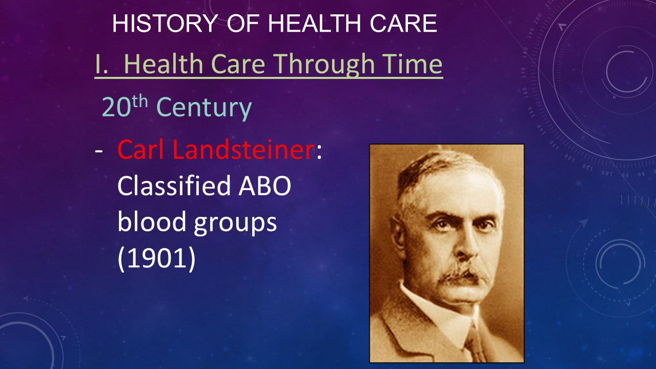 I. Health Care Through Time 20th Century