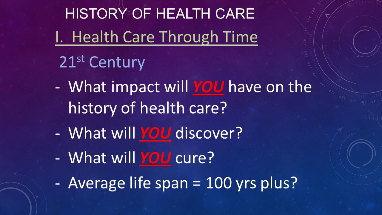 I. Health Care Through Time 21st Century