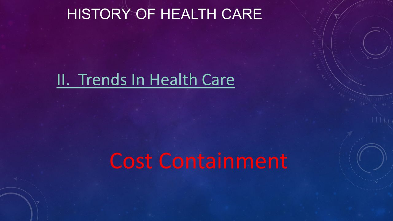 History of Health Care II. Trends In Health Care Cost Containment