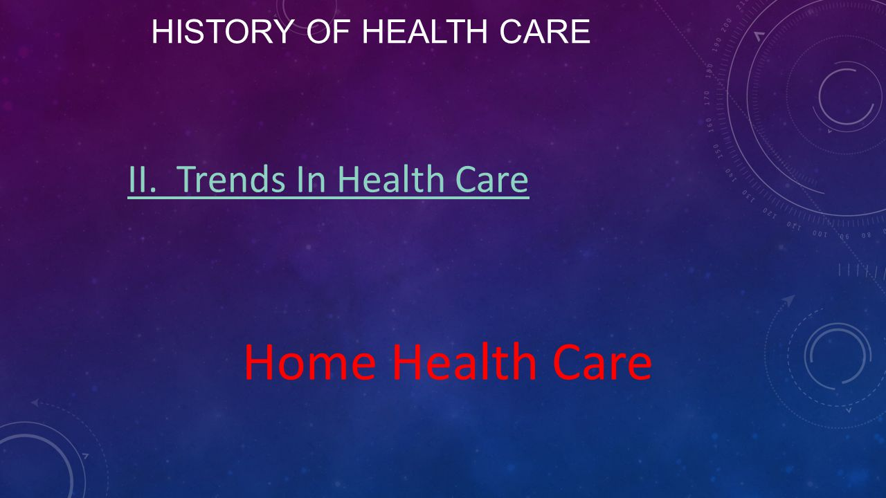 History of Health Care II. Trends In Health Care Home Health Care