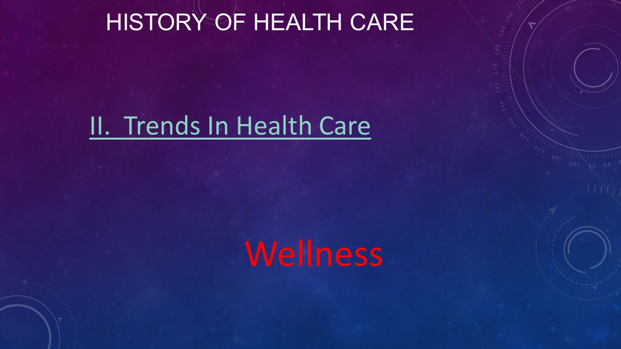 History of Health Care II. Trends In Health Care Wellness