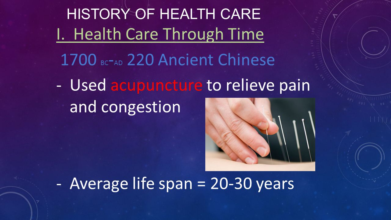 I. Health Care Through Time 1700 BC-AD 220 Ancient Chinese