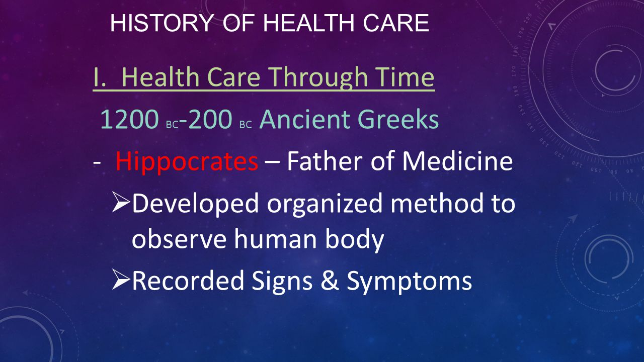 I. Health Care Through Time 1200 BC-200 BC Ancient Greeks