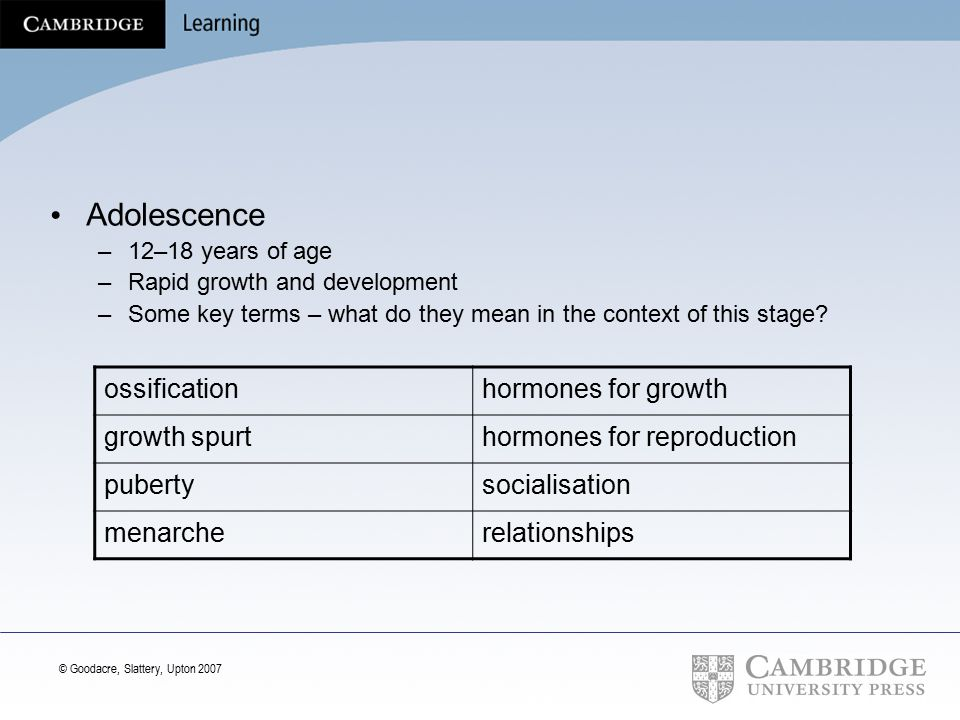Adolescence ossification hormones for growth growth spurt