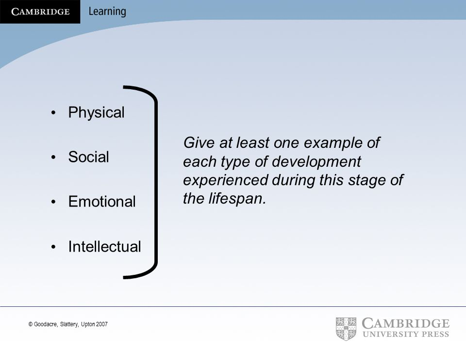 Physical Social. Emotional. Intellectual. Give at least one example of each type of development experienced during this stage of the lifespan.