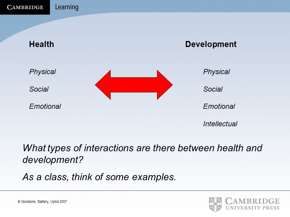 What types of interactions are there between health and development