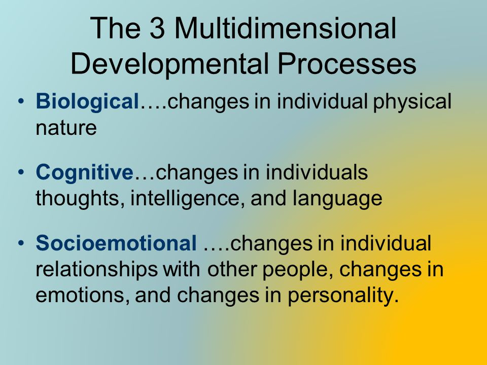 The 3 Multidimensional Developmental Processes