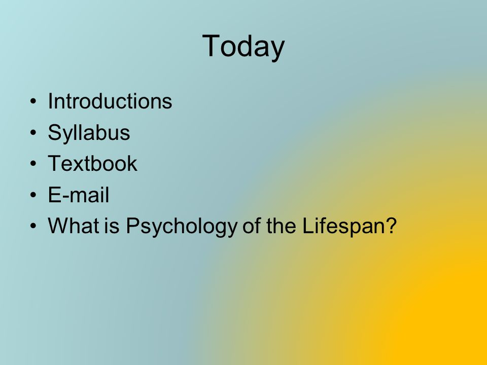 Today Introductions Syllabus Textbook E-mail