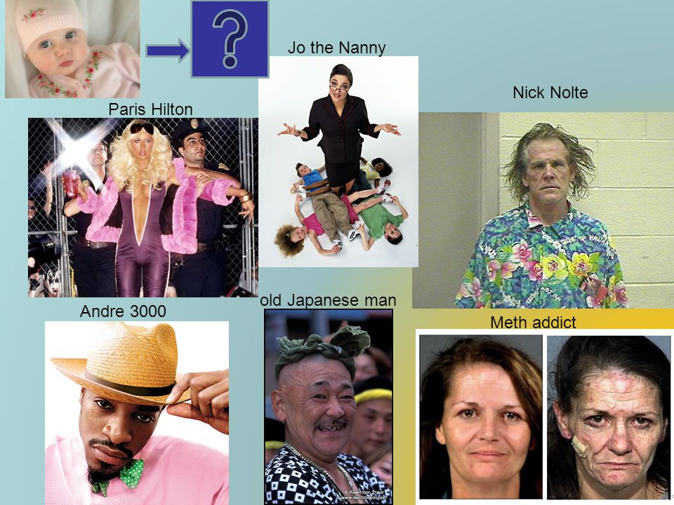 Jo the Nanny Nick Nolte Paris Hilton old Japanese man Andre 3000 Meth addict