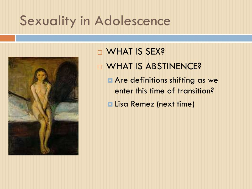 Sexuality in Adolescence