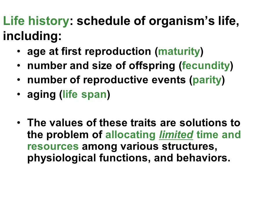 Life history: schedule of organism's life, including: