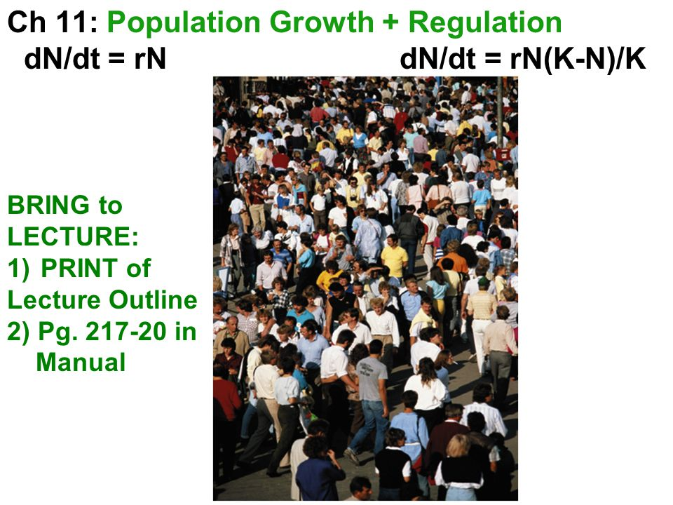 Ch 11: Population Growth + Regulation dN/dt = rN dN/dt = rN(K-N)/K