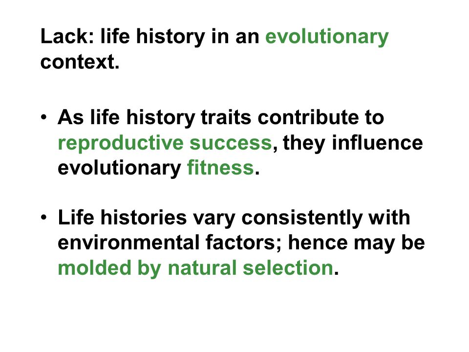 Lack: life history in an evolutionary context.