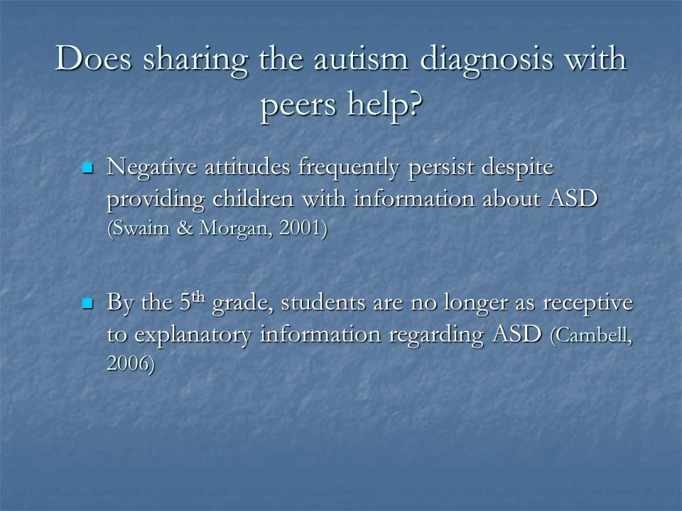 Does sharing the autism diagnosis with peers help