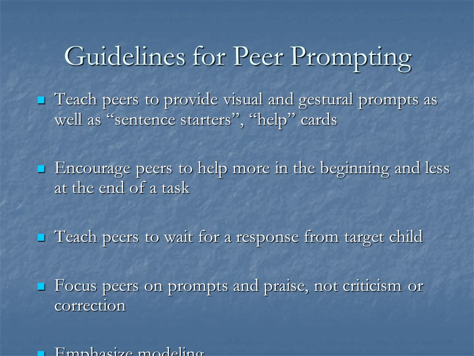 Guidelines for Peer Prompting