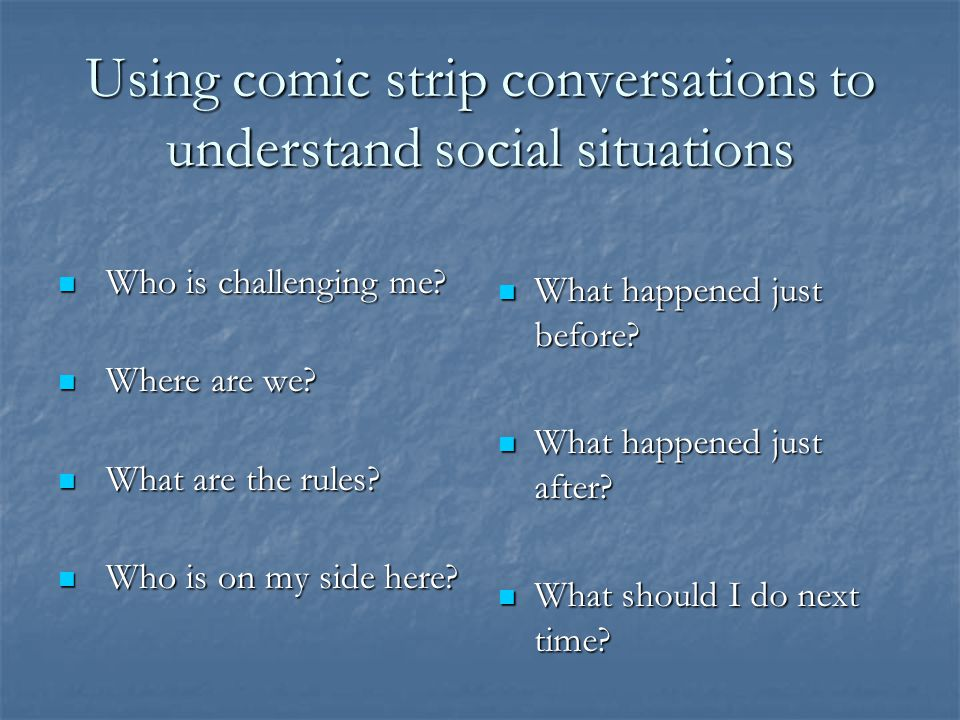 Using comic strip conversations to understand social situations