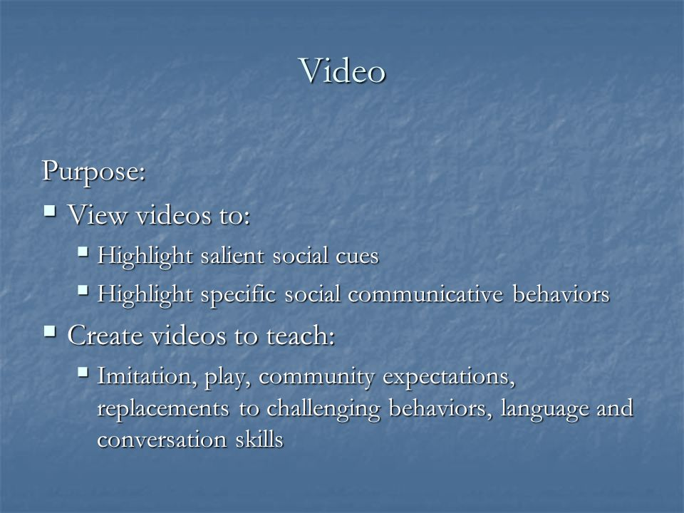 Video Purpose: View videos to: Create videos to teach:
