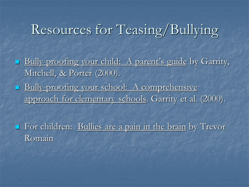 Resources for Teasing/Bullying
