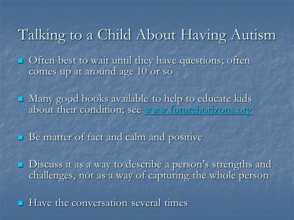 Talking to a Child About Having Autism
