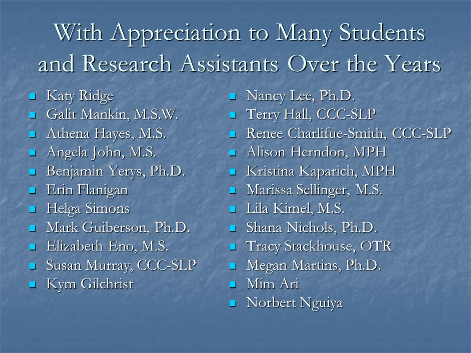 With Appreciation to Many Students and Research Assistants Over the Years