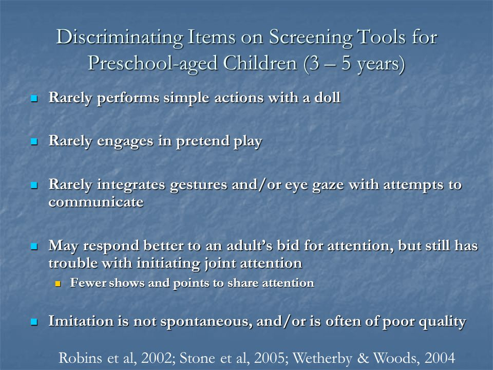Discriminating Items on Screening Tools for Preschool-aged Children (3 – 5 years)