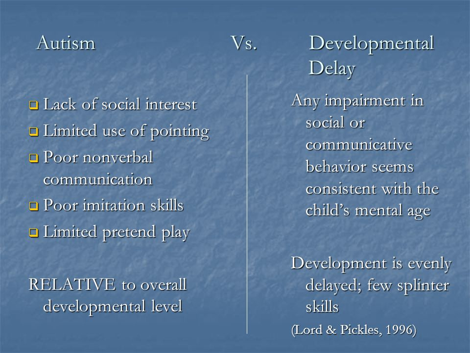 Autism Vs. Developmental Delay
