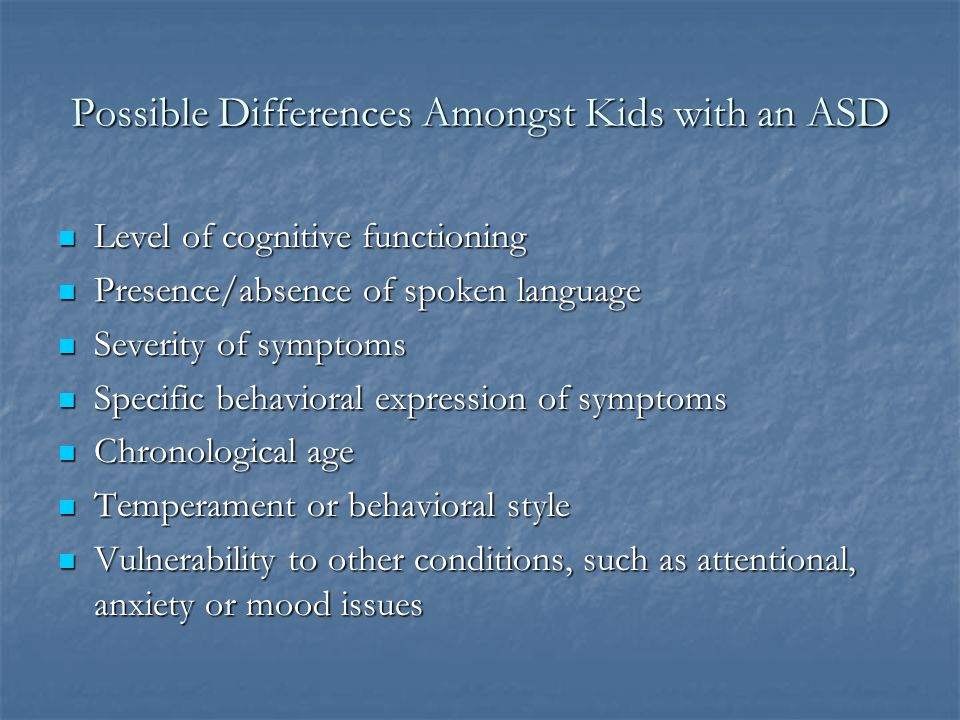 Possible Differences Amongst Kids with an ASD