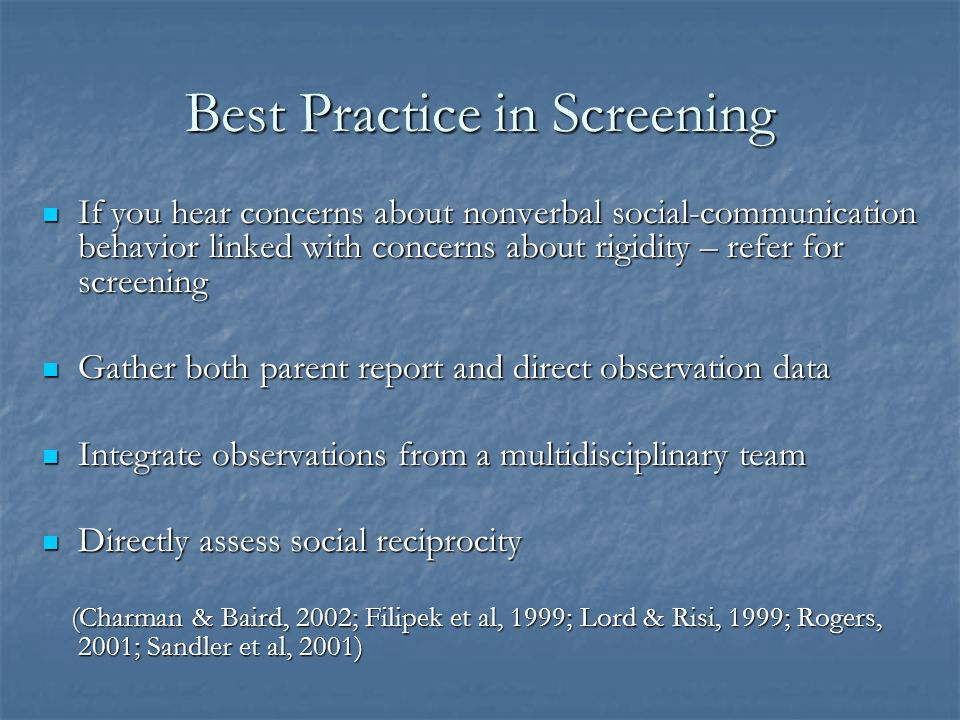 Best Practice in Screening