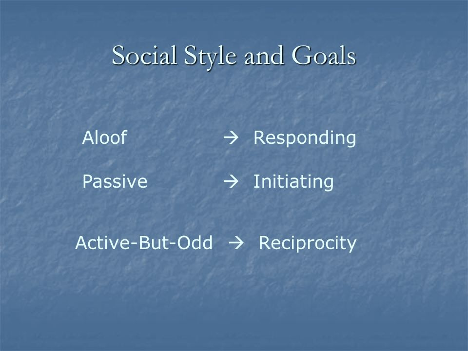 Social Style and Goals Aloof  Responding Passive  Initiating