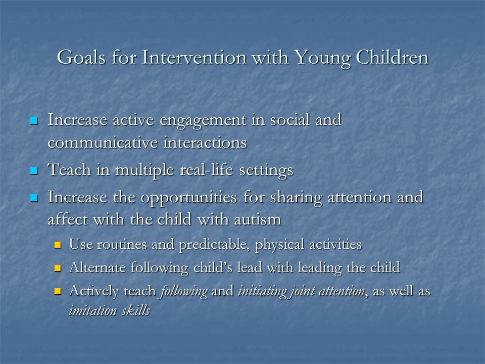 Goals for Intervention with Young Children