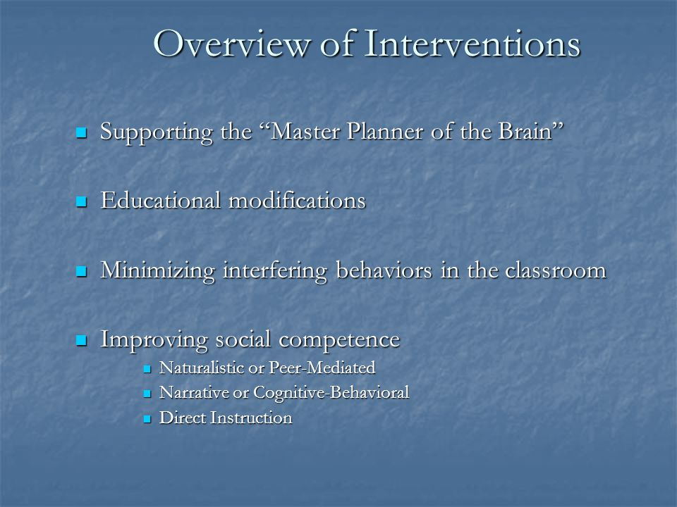 Overview of Interventions
