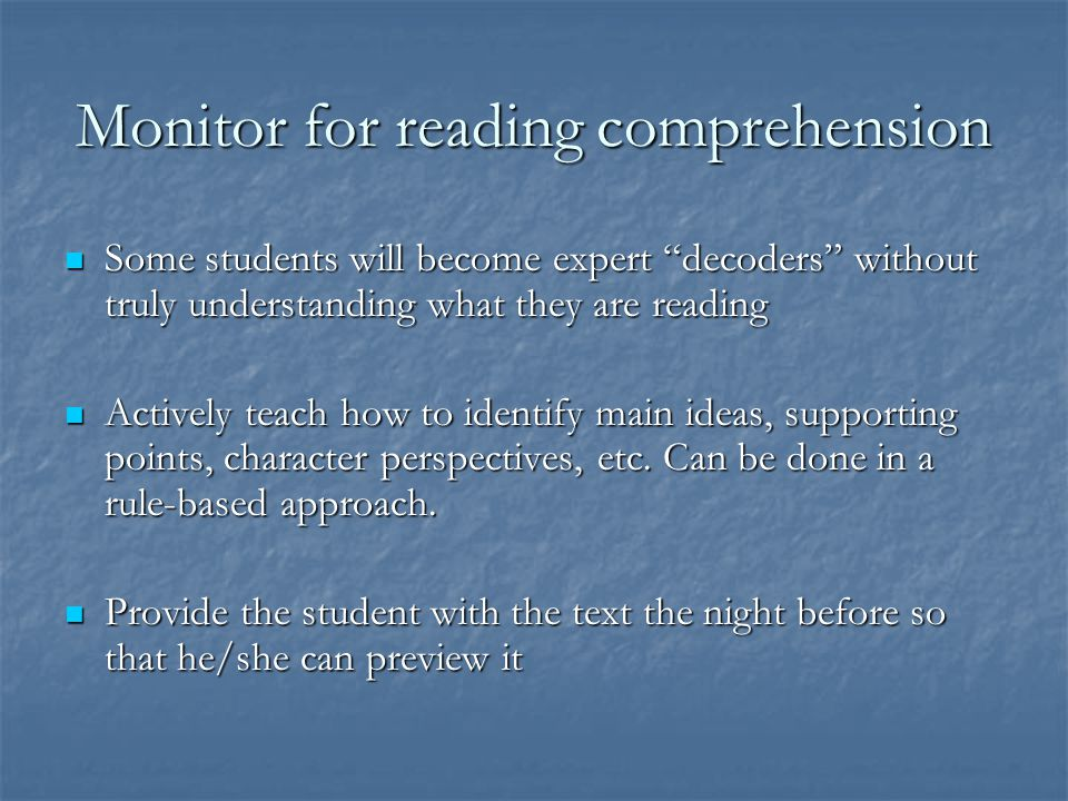 Monitor for reading comprehension