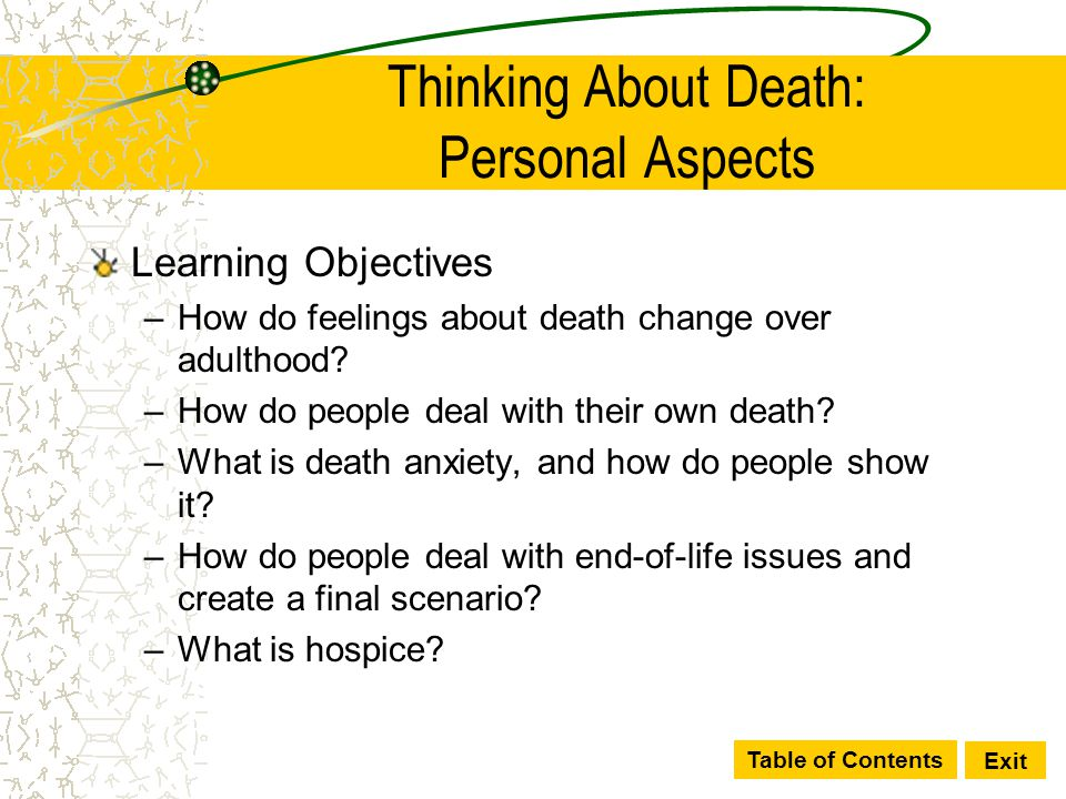 Thinking About Death: Personal Aspects