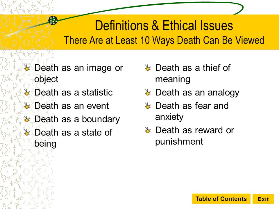 Definitions & Ethical Issues There Are at Least 10 Ways Death Can Be Viewed