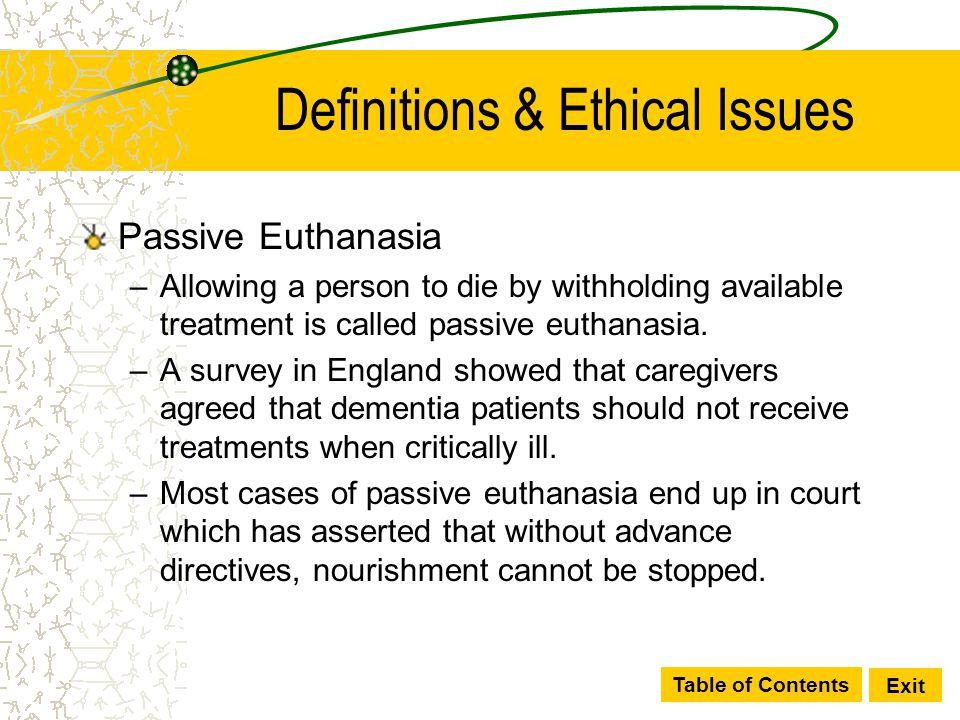 The ethics of euthanasia