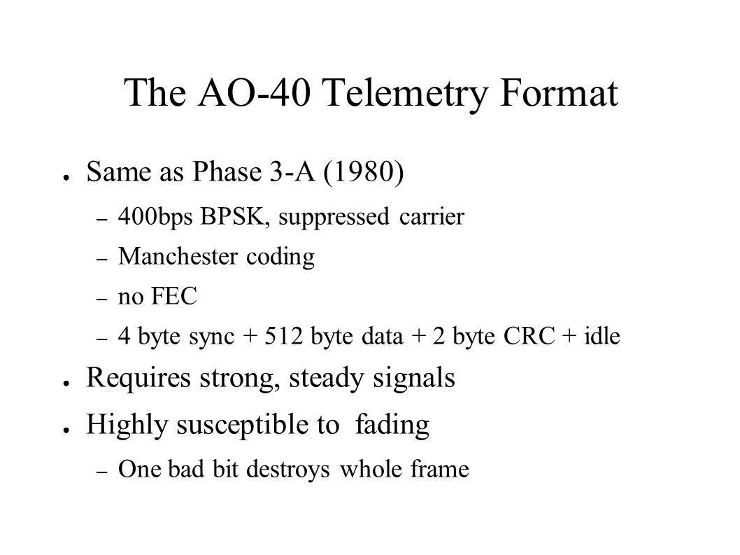 The AO-40 Telemetry Format