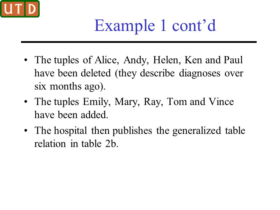 Example 1 cont'd The tuples of Alice, Andy, Helen, Ken and Paul have been deleted (they describe diagnoses over six months ago).